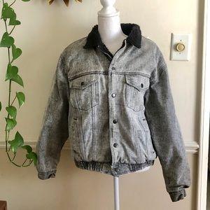 Vintage Black Acid Wash Sherpa Jacket